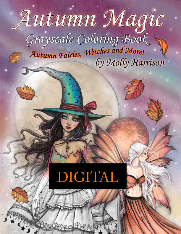 Fantasy Art Digital Printable Coloring Books By Molly Harrison