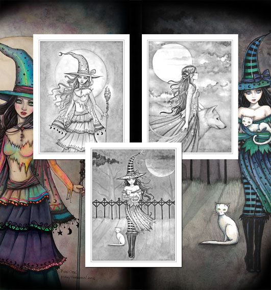 Halloween Witch Grayscale Coloring Pages Set Of 3
