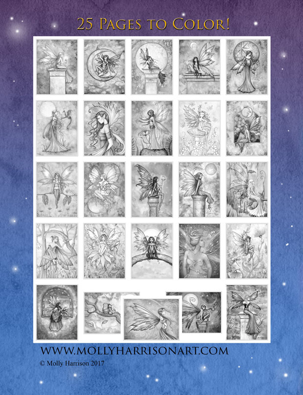 A World Of Fairies Printable Fairy Coloring Book In Grayscale