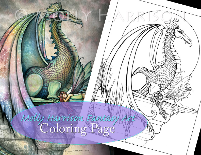 Fairies with Dragons and Unicorns Coloring Pages - The Fairy Art and ...