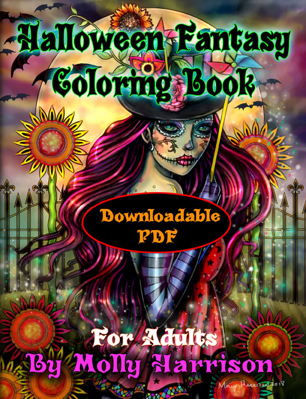 Halloween Fantasy Coloring Book For Adults PDF Instant Download